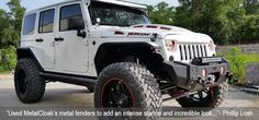 JK Wrangler and JK Rubicon Replacement High Clearance Fenders and Hard Core Body Armor allows you to run tires on a Stock JK with no lift. Jeep Rubicon, Jeep Jk, Jeep Truck, Wrangler Jk, Jeep Fenders, Jeep Rims, White Jeep, Jeep Photos, Commercial Van