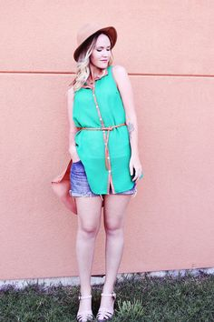 Shirtwaist dress and short jeans