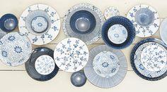 Riverdale Mix and Match servies - Koken & Wonen Slider Images, Polish Folk Art, Ceramic Tableware, Blue Leaves, Bohemian Living, White Decor, Interior Inspiration, Home Furniture, Decorative Plates