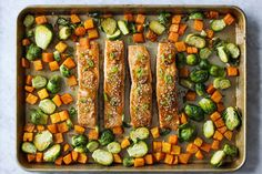 Meet your new favorite weeknight meal. Salmon is marinated in an umami-rich, Asian-inspired sauce before being roasted to flaky, melt-in-... Sheet Pan Suppers, Cooking Light, Lime Recipes, Salmon Recipes, Seafood Recipes, Dinner Recipes, Seafood Dishes, Dinner Ideas, Brussels Sprouts