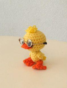 Artist bear, collectible, one-of-a-kind amigurumi, teddy bear, duck. $27.00, via Etsy.