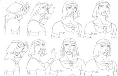 """TWO 1997 DreamWorks, Prince of Egypt """"Moses"""" Model Sheets"""