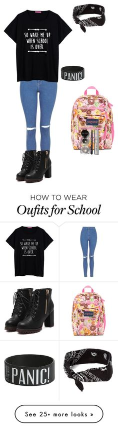 """School on Friday"" by ethansen-1 on Polyvore featuring Topshop, JanSport, claire's and Bobbi Brown Cosmetics"