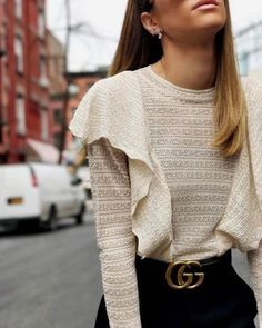 This ruffle top and gucci belt outfit is so cute for fall and winter! #fashion #style #mode
