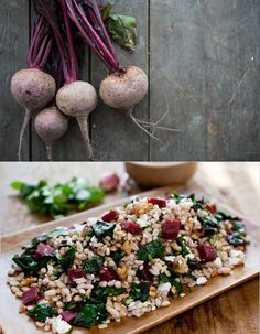 Farro-beet-beetgreen salad