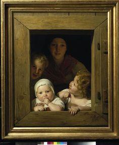 Jeune paysanne avec trois enfants à la fenêtre. Ferdinand Georg Waldmüller, 1840.