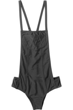If this narrow cut feels a bit bold, simply pair a bandeau underneath to really get the overalls look.
