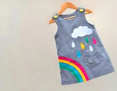 RAINBOW & silver cloud- Little girls dress-grey corduroy age 6M to 6T-Wild Things Dresses. $60.00, via Etsy.