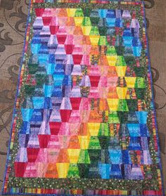 Rainbow Chevron Tumbler Quilt by CottonSilkPorcelain on Etsy, $275.00