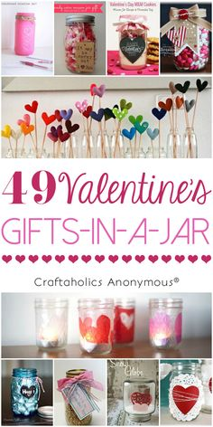 49 Fun Gift in a Jar Ideas for Valentine's Day || lots of Valentine gifts and Valentine mason jar crafts