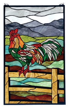 Features:  -Mounting bracket and jack chain are included.  -Tiffany's original Rooster window will inspire you to rise early.  -Russet and Emerald rooster, perched on an oak brown fence is a striking