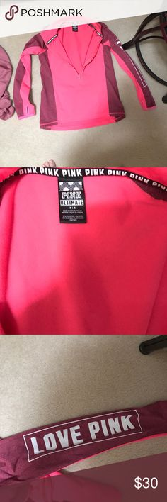 Nwot Victoria's Secret pink ultimate 1/2 zip Md . Price firm. Will only trade for ISO pink items. PINK Victoria's Secret Tops