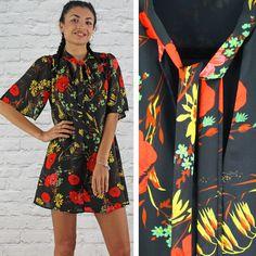 Glamorous Black Orange & Yellow Poppy Print Tie Neck Swing Dress Instore And Online www.pinkcadillac.co.uk