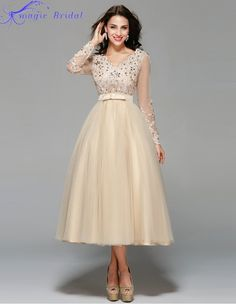 Vestido De Noiva Curto Vintage Lace Tea Length Short Wedding Dress Elegant Long Sleeve Champagne White Wedding Gowns 2015-in Wedding Dresses from Weddings & Events on Aliexpress.com | Alibaba Group