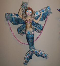 Ooak Mer-Fairy Goddess cloth art doll 13in.made by Arzie Hodge (face by Linsart) and sold on Etsy