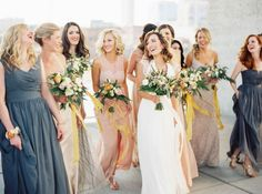 bridesmaids in pinks, blues and neutrals, how pretty they all are!