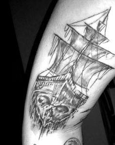 Half boat half skull tattoo.