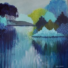 Under The Moonlight by Clair Bremner, abstract impressionist landscape painting, acrylic on canvas,