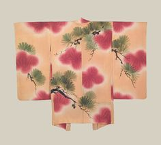 Painted Haori, Late Taisho to early Showa (1920-1940). A silk haori featuring painted pine tree motifs onto a dyed background. The Kimono Gallery