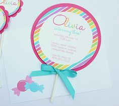 A set of 12 colorful striped Lollipop invitations with matching envelopes.Each invitation is printed with your information and attached to a pink Diy Birthday Party Favors, First Birthday Parties, First Birthdays, Birthday Ideas, 5th Birthday, Quince Invitations, Invites, Girl Birthday Cards, Rainbow Parties