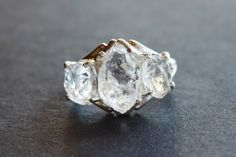Raw Diamond Ring Uncut Engagement Ring Sterling Silver Handmade Engagement Avello by Avello on Etsy