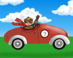 Race car art print for kids vintage race by HamiltonArtandDesign
