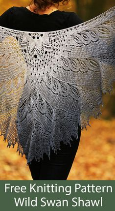 Shawl Patterns 65058 Free Knitting Pattern for Wild Swan Shawl - Crescent-shaped lace shawl knit from the top down. WS rows are purled except for edge sts and double yarnovers. Designed by Anne-Lise Maigaard and Nim Teasdale. Lace Knitting Patterns, Lace Patterns, Knitting Designs, Knitting Tutorials, Knitting Ideas, Knitting Projects, Knitted Shawls, Crochet Shawl, Lace Shawls