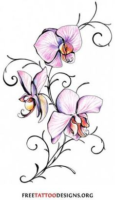 Orchid Tattoo  Other flowers that are often used for tattoos are:     •orchids: mysterious  •forget me not's: an old believe is that the wearers of this flower are not forgotten by their lovers.   •sweet peas: blissful pleasure  •Irises: passion