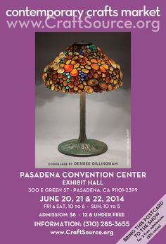 Contemporary Crafts Market's season opens in Pasadena June Print out this postcard and bring a friend.it will admit two free! Fort Mason, Craft Markets, 30th Anniversary, Convention Centre, San Francisco, Creativity, June, Events, Shapes