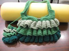 Ruffle Purse - Green - with cellphone holder