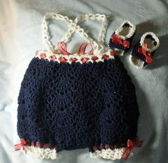 Items similar to Crocheted Infant Romper Sunsuit Crocheted Sandals Infant mo Navy Blue White Trim on Etsy Crochet Romper, Crochet Sandals, Newborn Crochet, Crochet Baby, Knit Crochet, Handmade Baby, Handmade Clothes, Handmade Gifts, Toddler Sweater