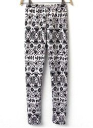 $7.86 Geometric Pattern Print Fleece Lined Cotton Blend Color Matching Leggings For Women