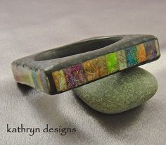 Bangle bracelet square polymer clay resin colorful handmade