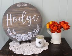 Personalized Initial and Name Sign - Round Wood Custom Sign - Established Family Sign - Floral Sign - Wedding Gift - Gallery Wall