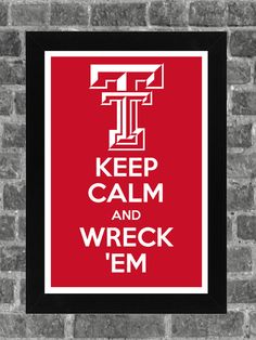 Keep Calm Texas Tech Red Raiders NCAA Print Art by PortlandInkery, $14.99