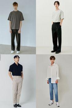 남자 여름 코디 미니멀리즘 패션 카라티 셔츠 티셔츠 슬랙스 코디 Korean Fashion Men, Boy Fashion, Fashion Outfits, Womens Fashion, 2 Boys, Minimal Fashion, Mens Clothing Styles, Normcore, Ootd