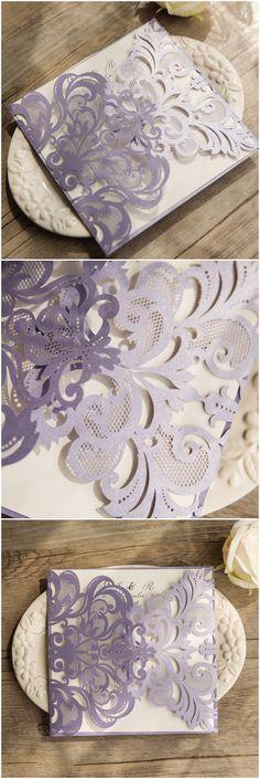 elegant lavender purple laser cut wedding invitations