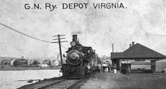 Great Northern depot at Virginia, Minnesota. DW&P passengers traveling south to Duluth would catch a Duluth Missabe & Northern train at the depot for travel over the next approx. 80 miles to Duluth. DW&P tracks would not reach the Zenith city until 1913.