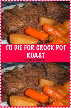 You will be surprised with how delicious this simple crock pot roast with potatoes recipe is. It is easy to make and packed with tons of flavor without seasoning packets! This is a great beef recipe that the entire family with love! Roast Beef Recipes, Healthy Crockpot Recipes, Slow Cooker Pot Roast, Crockpot Meals, Crock Pot Chuck Roast, Sirloin Tip Roast, Bob Evans Roast Beef Recipe, To Die For Crock Pot Roast Recipe, Dinner Ideas
