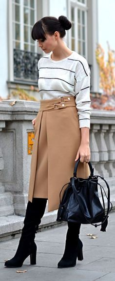 Camel Sophisticated High Waisted Midi Skirt