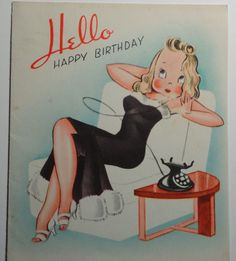 Vintage Mid-Century Birthday Card Sexy Lady in Fur-Trimmed Gown Talks on Phone F. Happy Birthday Vintage, Happy 2nd Birthday, Vintage Valentines, 18th Birthday Cards, Birthday Greeting Cards, Birthday Greetings, Vintage Greeting Cards, Vintage Postcards, Vintage Magazine
