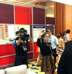 Thailand reporters (Thailand Televisions) visited the booth and interviewed. — in Singapore.
