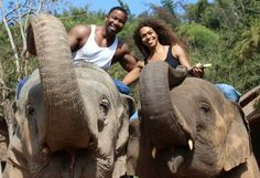 Newly Married couple Michael Jai White and Gillian Iliana Waters riding elephants in Thailand during White's filming of his new action movie Skin Trade. Riding Elephants In Thailand, Skin Trade, Michael Jai White, Blood And Bone, Actors Male, Martial Artist, Action Movies, Love And Marriage