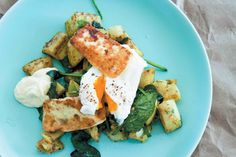 Curry crushed potatoes with haloumi and poached eggs add smoked haddock instead of hallumi