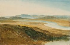 Joseph Mallord William Turner, 'The Roman Campagna with the River Tiber and Ponte Molle in the Distance' 1819