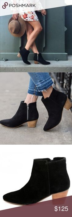 "Black Distressed Suede Chic Low Heel Ankle Boot The perfect ""go-to"" mid-heeled ankle bootie. Inside zipper closure.  Heel height: 2.25""  Fiber Content: Suede by Matisse X Free People. The leatherette used for these shoes was carefully hand-crafted to achieve an aged, worn effect. Any irregularities in the finish are unique characteristics that makes them one of a kind. Free People Shoes Ankle Boots & Booties"