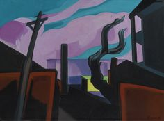 South Peterson Snow   by Oscar Bluemner  Giclee Canvas Print Repro