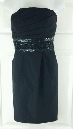 Extraordinary Black Beaded Rouched Bodice Stretch Mini Formal Prom LBD Dress 11 #Xtraordinary #Sheath #LittleBlackDress