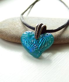 Handmade Turquoise Fused Glass Pendant Heart Fused by BluSkysGlass