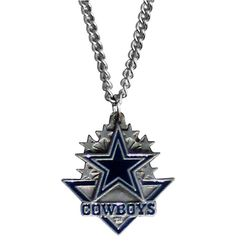 Our officially licensed classic chain necklace features an intricately carved Dallas Cowboys team pendant with enameled team colors. The pendant comes on a 20 inch chain.Width: 3.75 inches Length: 2.5 inches Height: 0.25 inches Product Type: Classic Chain Necklace  Features:  Officially licensed NFL product 20 inch chain necklace Dallas Cowboys team pendant Intricately carved details Enameled team colors